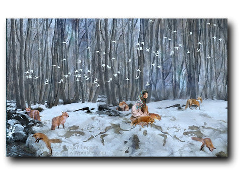Elizabeth Leggett | Portico Art image of a woman in a snowy field, surrounded by foxes