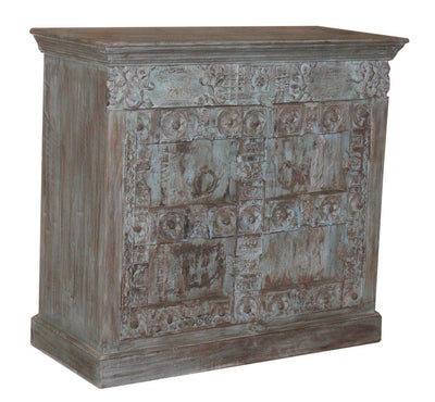 Brown and Blue Wooden Sideboard Cabinet