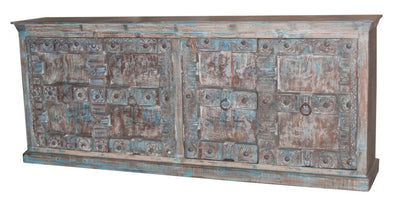 Wooden Sideboard Cabinet with Blue Doors
