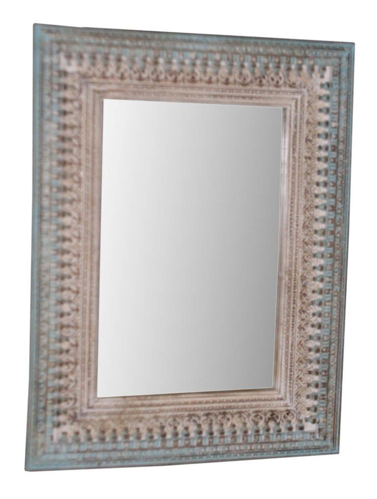 Brown and Blue Wood Mirror