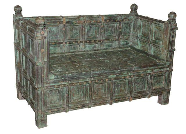 Green and Brown Wooden Sofa