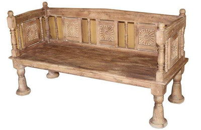 Wooden Bench with Carving