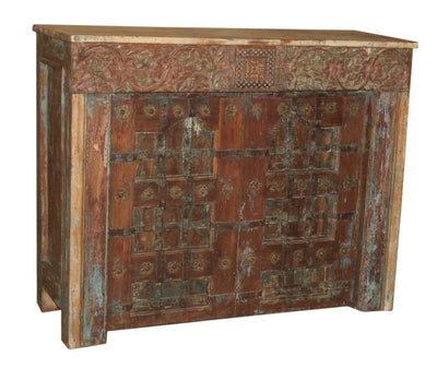Blue and Brown Wooden Bar Cabinet