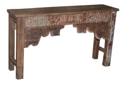 Dark Colored Wooden Console Table with Carving