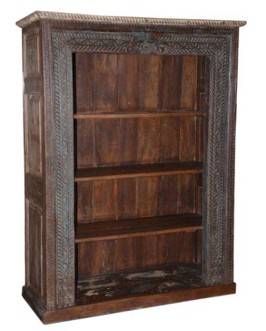 Blue and Brown Wooden Bookcase with Four Shelves