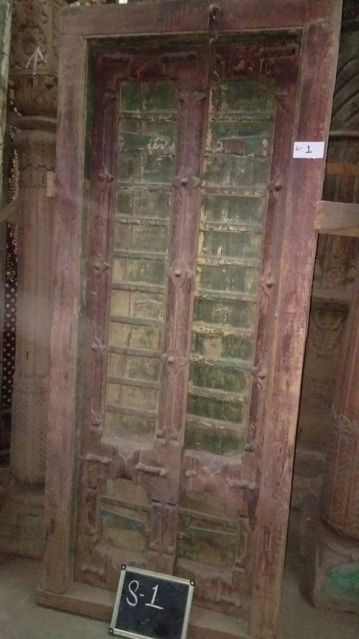 Green and Brown Wooden Door with Frame