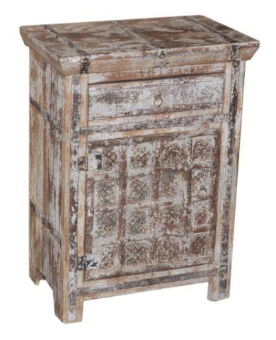 Wooden Nightstand with One Drawer and One Door