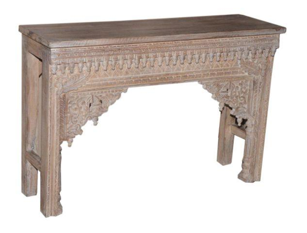 Tall Wooden Console Table with Carving