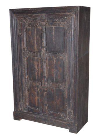 Dark Colored Wooden Almirah Cabinet with Two Doors