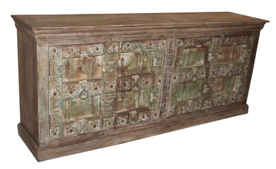 Brown and Green Wood Cabinet with Four Doors