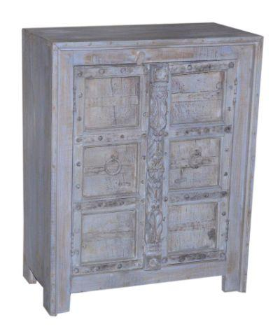 Blue Grey Wooden Almirah Cabinet with Two Doors