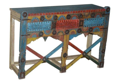 Red, Yellow, and Blue Wooden Damchiya Console Table
