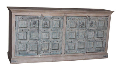 Wooden Cabinet with Blue Doors