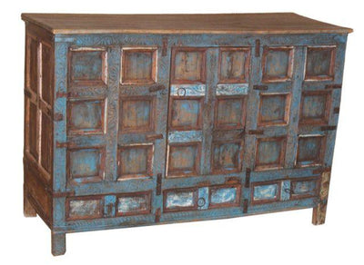 Blue and Brown Wooden Cabinet with Three Drawers and Three Doors