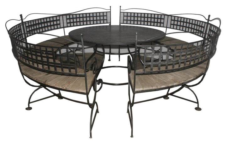 Round Iron Table with Benches (5 Pieces)