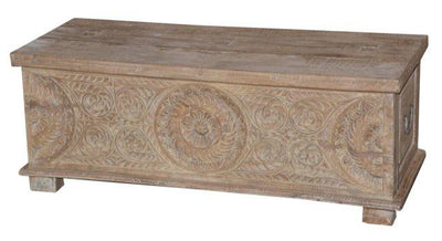 Wooden Trunk with Carving