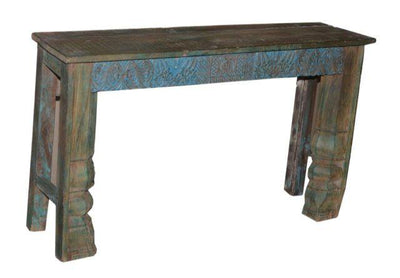 Blue, Green, and Brown Wooden Console Table with Carving