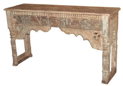Long Wooden Console Table with Carving