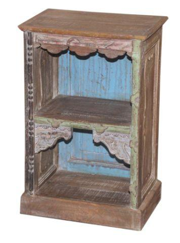 Small Blue and Brown Wooden Bookcase with Two Shelves