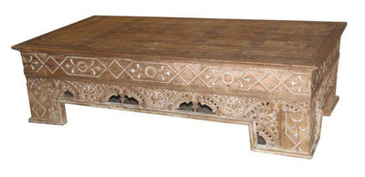 Thick Wooden Coffee Table with Carving