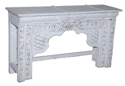 White Wooden Console Table with Carving