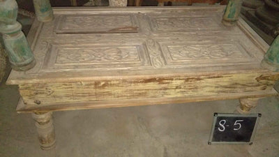 Light Colored Wooden Coffee Table with Door Carving