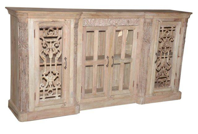 Wooden Cabinet with Carving and Four Doors