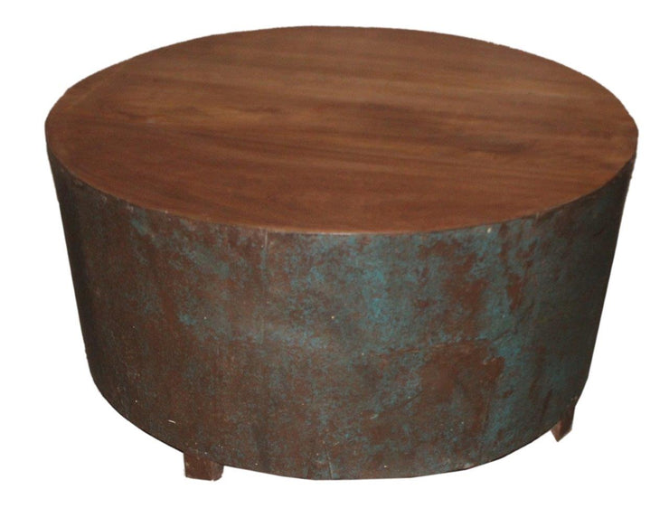 Wooden Blue Iron Coffee Table