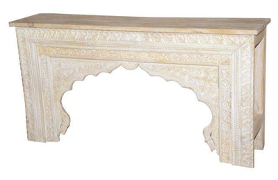 Light Colored Wooden Console Table with Carving