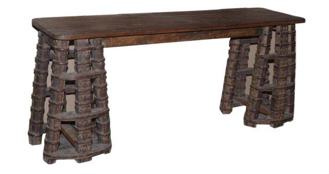 Wooden Console Table with Thick Legs