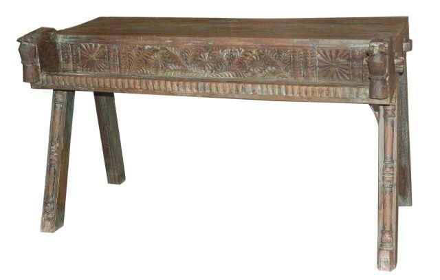 Small Wooden Console Table with Carving