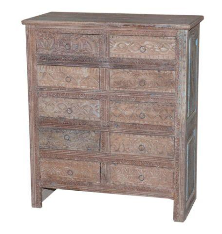 Wooden Dresser with Ten Drawers