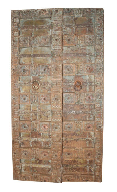 Blue and Brown Wood Door Panel