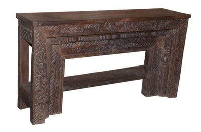 Wooden Console Table with Carving and Bar on Bottom