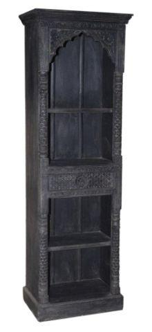 Tall Dark Colored Wooden Bookcase with Four Shelves