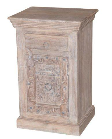 Light Colored Wooden Nightstand with One Drawer and One Door