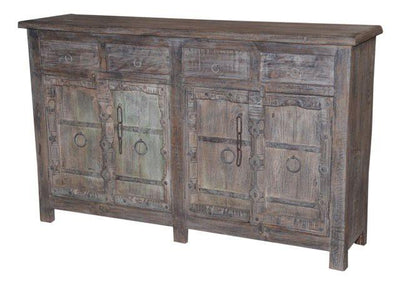 Dark Colored Wooden Cabinet with Four Drawers and Four Doors