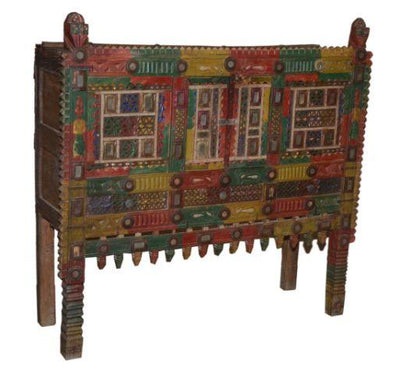 Red, Yellow, and Green Wooden Damchiya Console Table