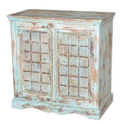 Light Blue and Brown Wooden Cabinet with Two Doors