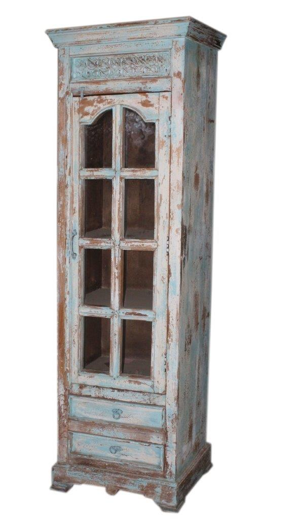 Wooden Glass Door Almirah with 2 Drawers