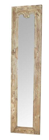 Skinny Mirror with Wooden Border