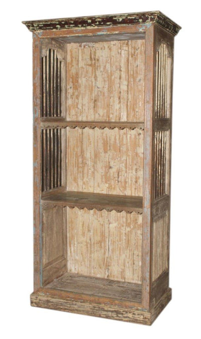 Wooden Iron Bookshelf with 3 Shelves