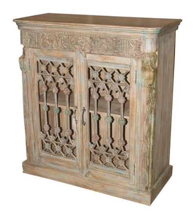 Light Wooden Iron Sideboard with 2 Doors