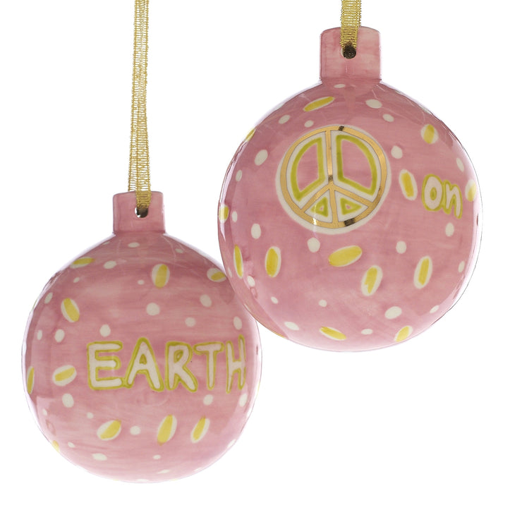 Pink Ceramic Christmas Spirit Ornament