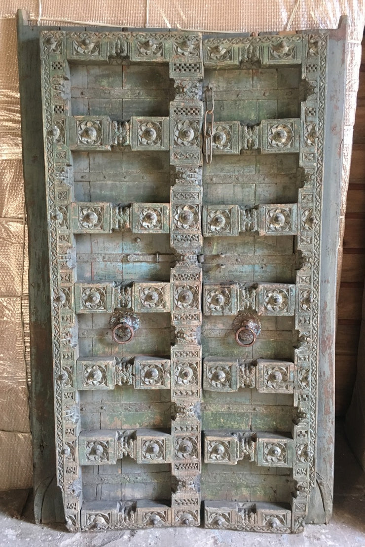 Carved Wood Door Teal