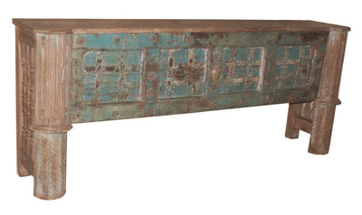 Brown and Blue Wooden Console Table