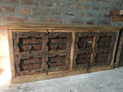 Sideboard with (4) Carved Gray Washed Doors