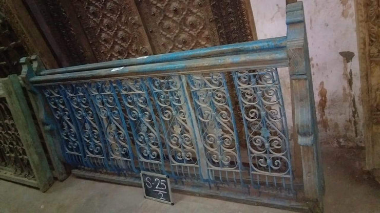 Blue and Brown Wooden Railing