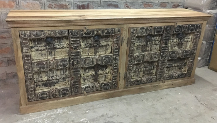 Light Wood Sideboard with Carved Gray Doors