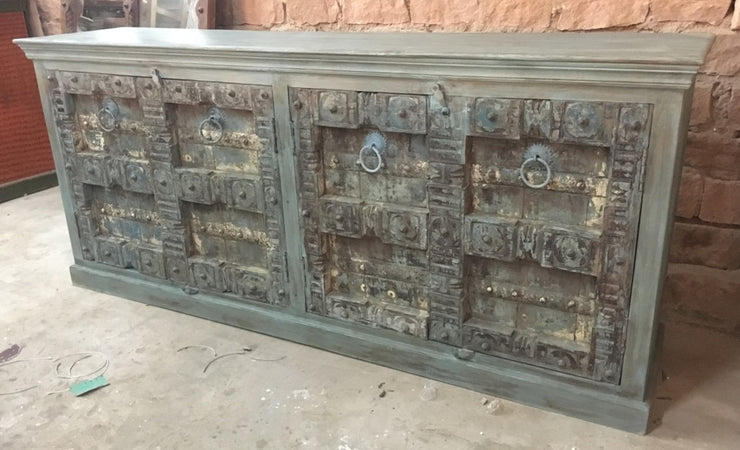 Light Wood Sideboard with Carved Blue Doors